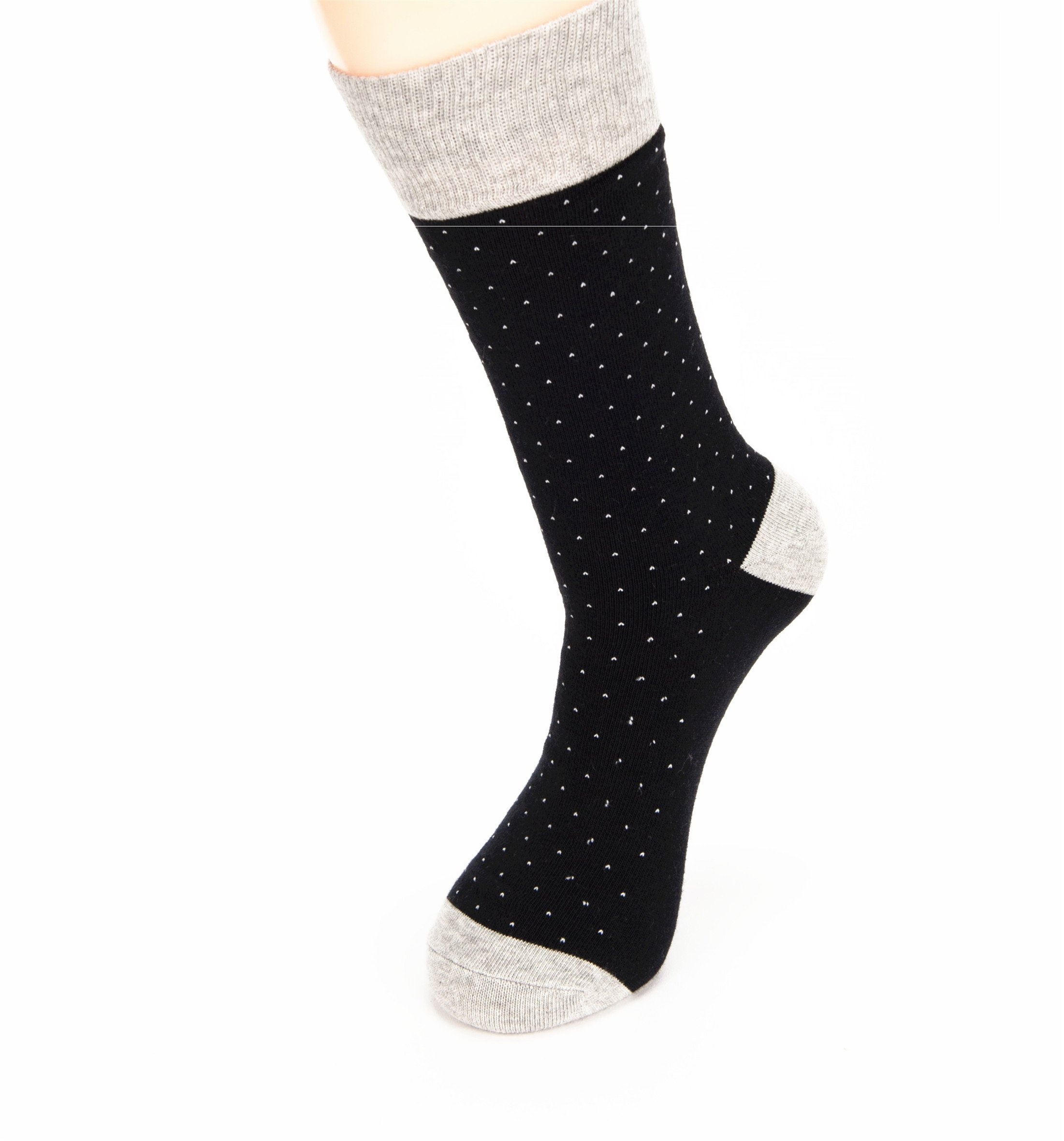 Hapyfost 6 Pack Men's Socks Dots Crew Dress Socks, 10-13 (BLACK)