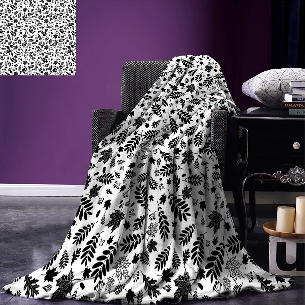 smallbeefly Leaves Throw Blanket Autumn Season in the Woods Themed Monochrome Pattern Deciduous Trees Maple Oak Warm Microfiber All Season Blanket for Bed or Couch Black White