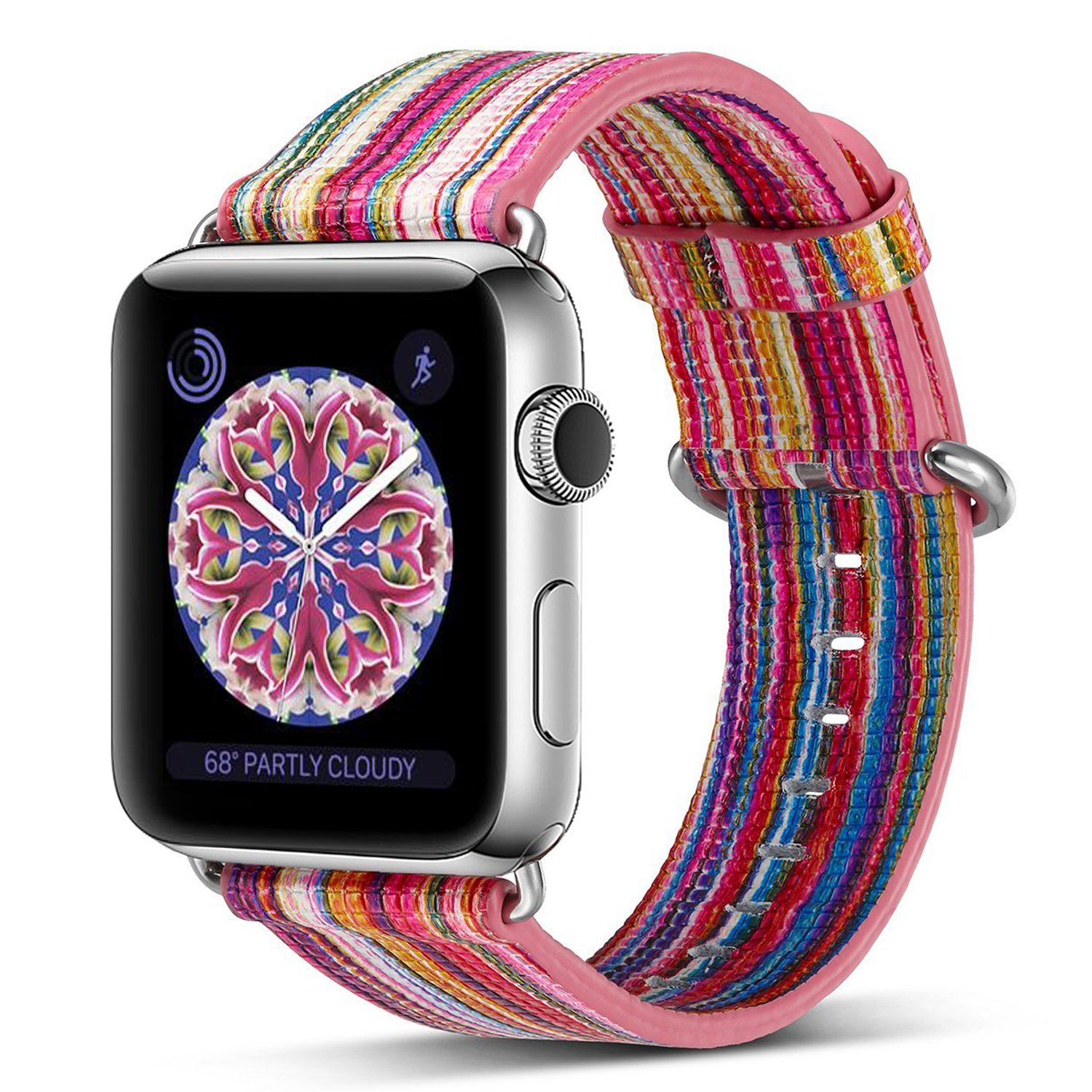 Pierre Case Apple watch band 38mm Genuine Leather iwatch strap Rainbow Replacement Bands with Stainless Metal Clasp for Apple Watch Series 3 Series 2 Series 1 Sports Edition Women Men (Pink D)