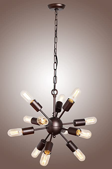 Deluxe lamp mid century sputnik filament chandelier aged steel 12 deluxe lamp mid century sputnik filament chandelier aged steel 12 arms aloadofball Images