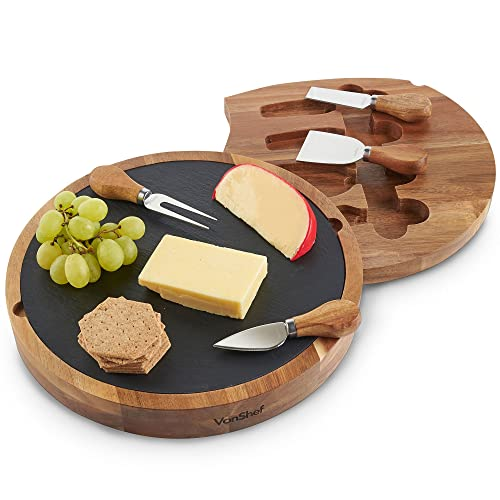 VonShef Round Cheese Board - Acacia Wood & Slide Out Slate with Specialist Knife Set (Black Gift Box)