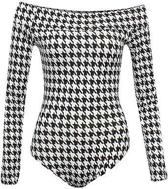 00695cc451 Re Tech UK Womens Ladies Off Shoulder Long Sleeve Bardot Bodysuit Leotard  Top Plain Stretch Black  Amazon.co.uk  Clothing