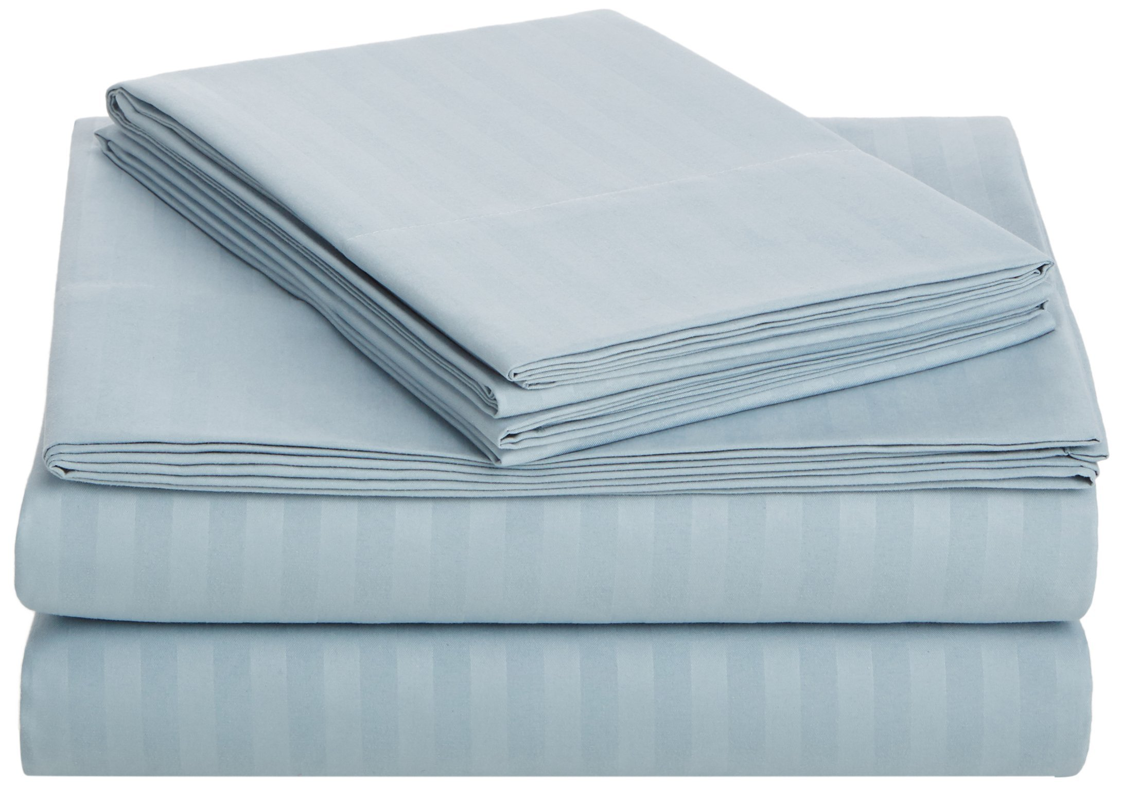 AmazonBasics Deluxe Microfiber Striped Sheet Set, Spa Blue, King