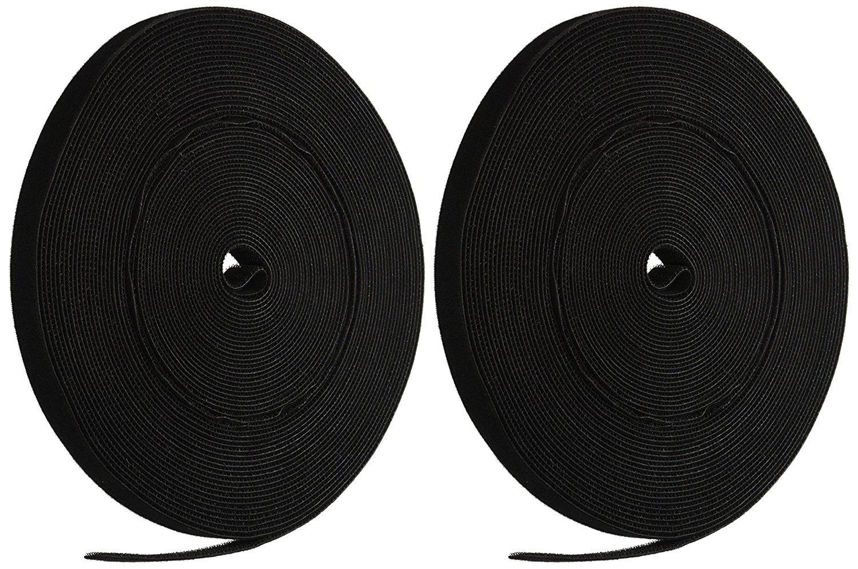 Long Cable Fastening Tape - (Pack of 2) 0.75 inch Single Wrap Hook & Loop (50 feet) 20 Yards/Roll - Black