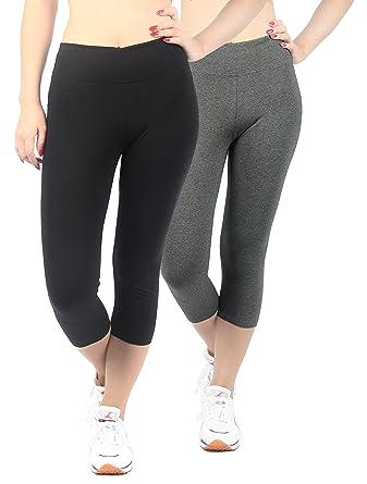 d38b0c2e411c6 4How Women's Cotton Stretch Tights Pants Leggings Yoga 2 Pack Black Grey S