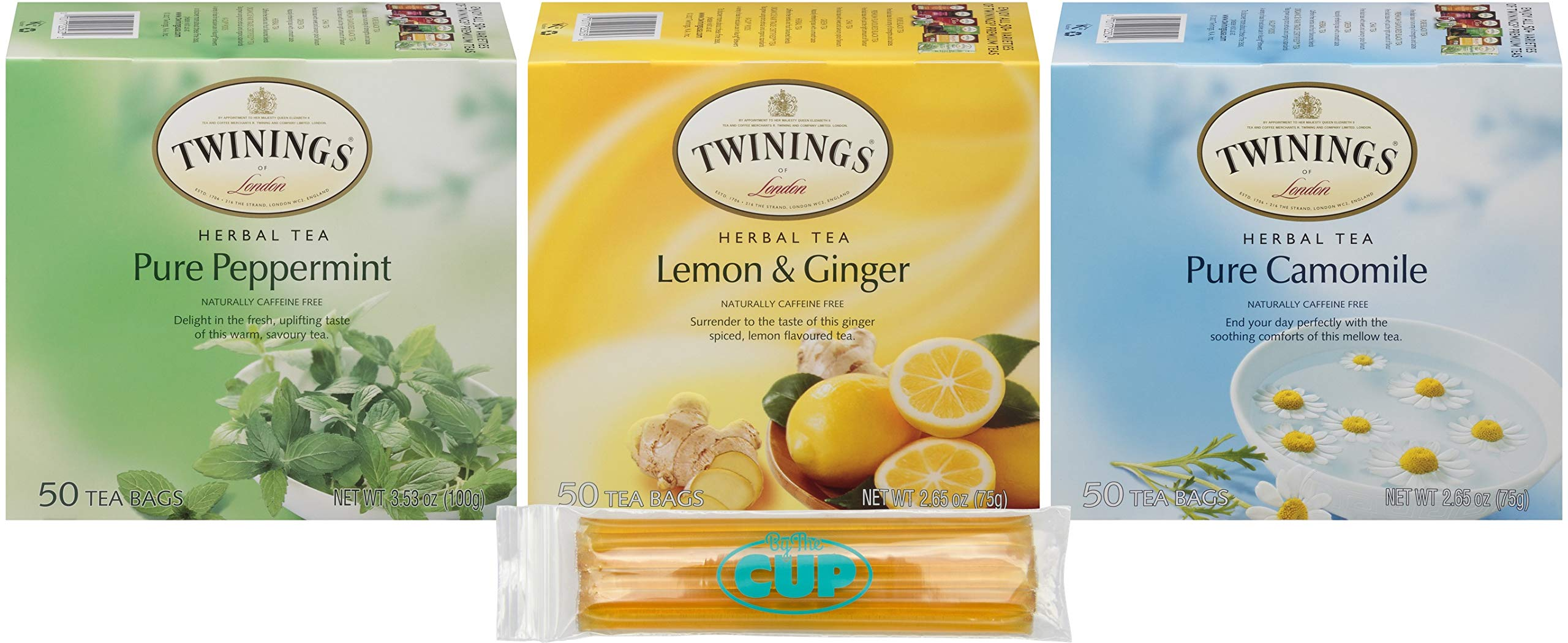 Twinings Tea 3 Flavor Herbal Tea Sampler 50 Count Box of Each Pure Peppermint, Lemon Ginger, and Camomile with By The Cup Honey Sticks