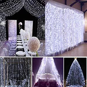 LED Curtain String Lights USB Port in Dimmable with Remote , IP64 Waterproof & 8 Settings Twinkle Decorative Lights String for Christmas, Garden Yard, Parties, Wedding, Wall Decorations (Cold-White)