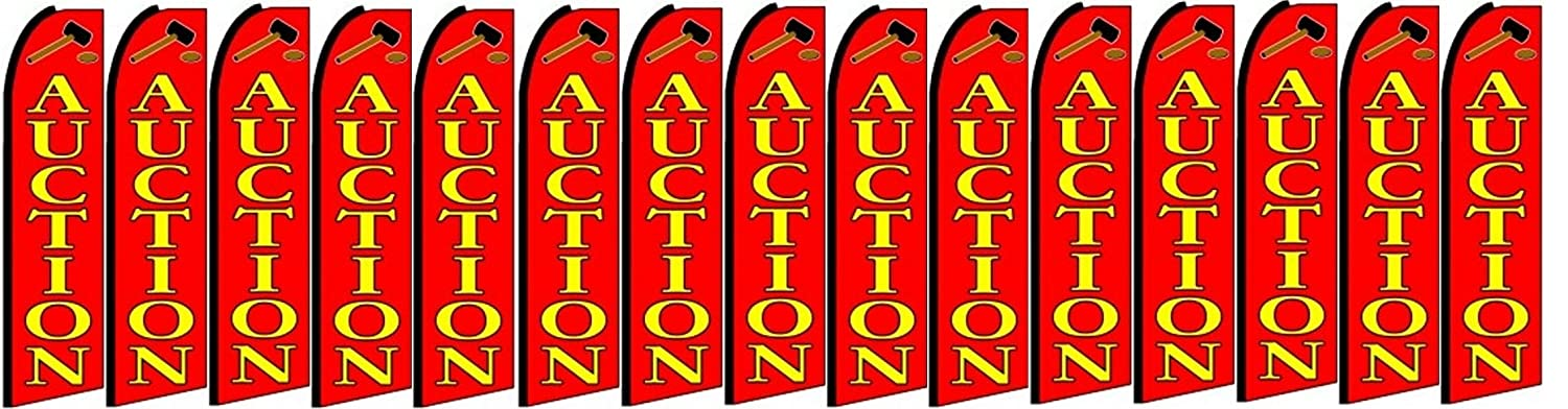 Auction King Swooper Feather Flag Sign Pack of 15 Hardware not Included