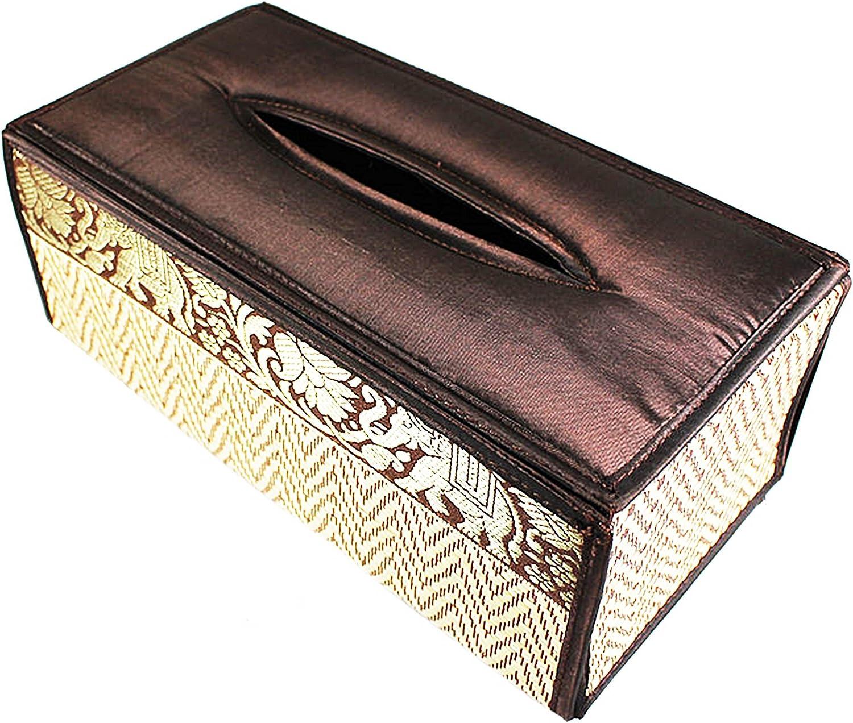 Home /& Decor HANDICRAFT REED /& THAI SILK-TISSUE BOX COVER