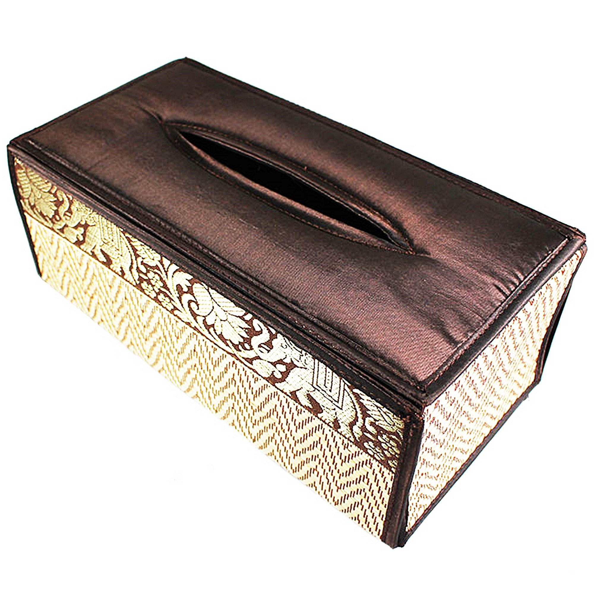 chantubtimplaza Tissue Box Cover Thai Handicraft Elephant Silk Reed Black Color Handmade Home Decor by chantubtimplaza