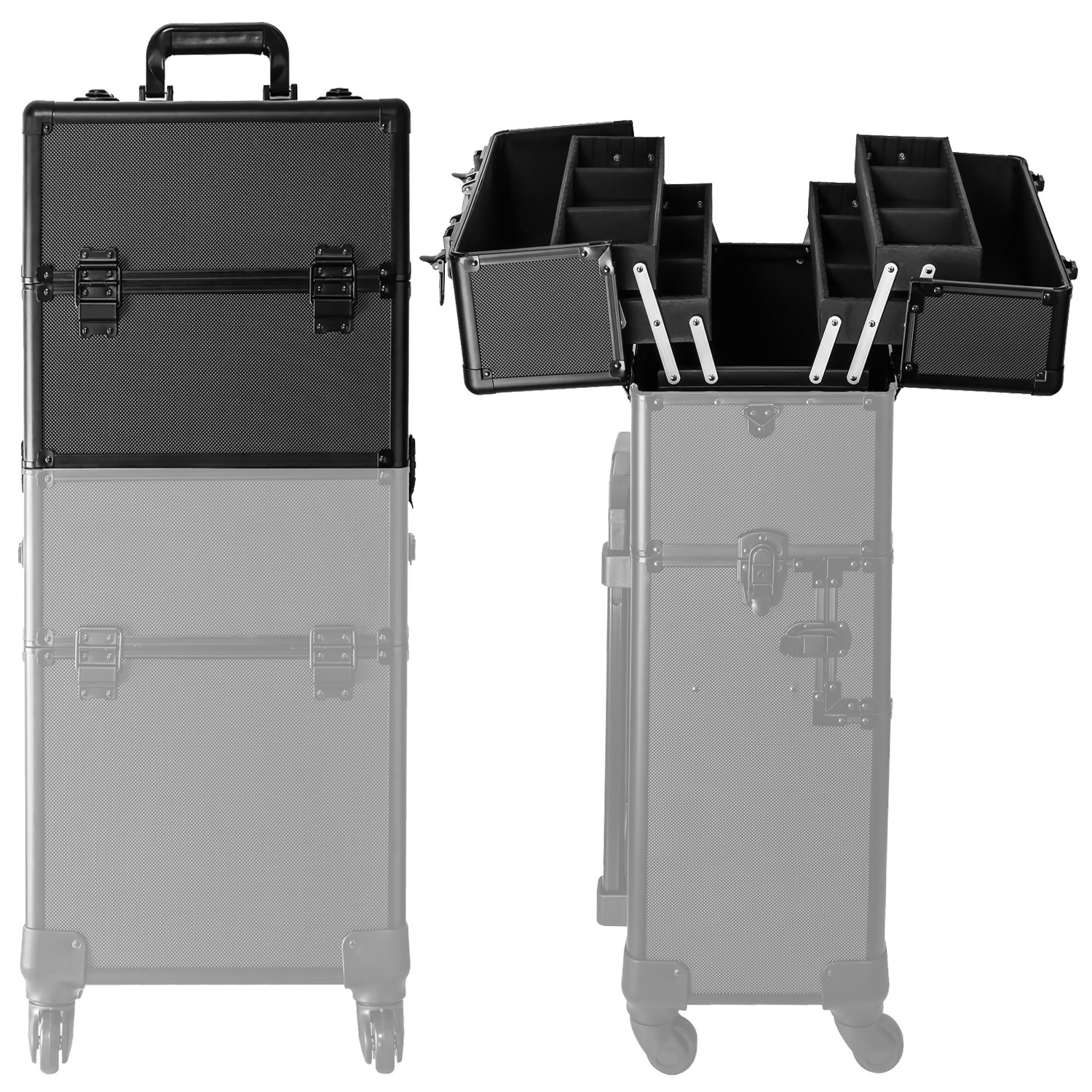 Koval Inc. 4-wheel Rolling 2in1 Makeup Train Cosmetic Case Black by KOVAL INC. (Image #4)