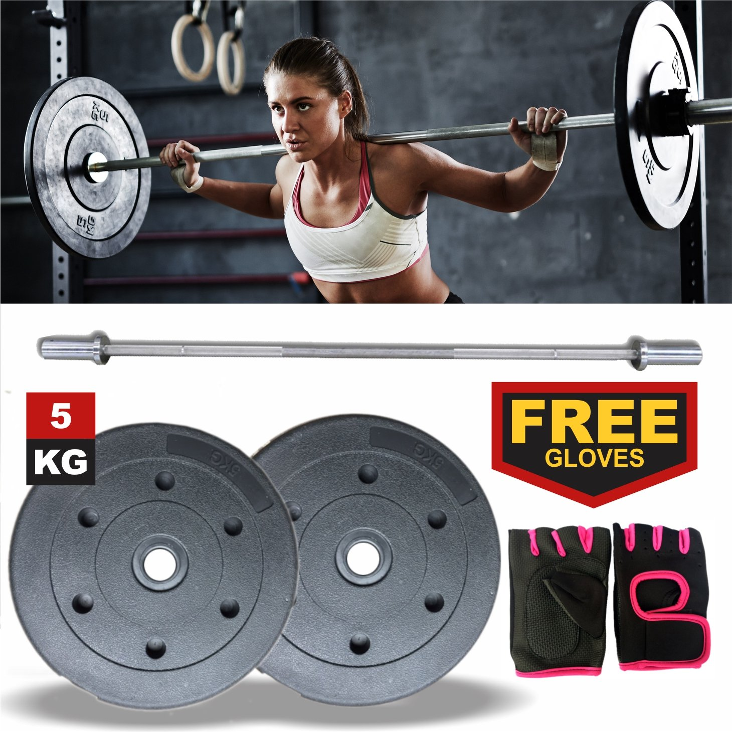 highy calidad relleno de arena de plástico ejercicio gimnasio levantamiento de pesas Set Platos x2 (10kg) libre Fitness guantes para mujer de malla (por ...