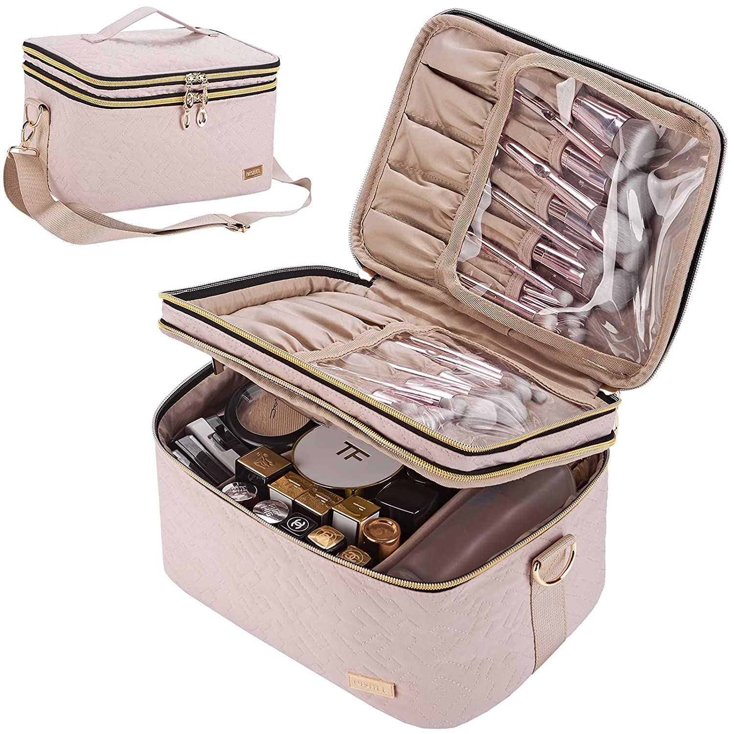 NISHEL Double Layer Travel Makeup Bag with Strap, Large Cosmetic Case Organizer Fits Bottles Vertically, Top Layer for Brushes, Tweezers, Eyeliner, Pink