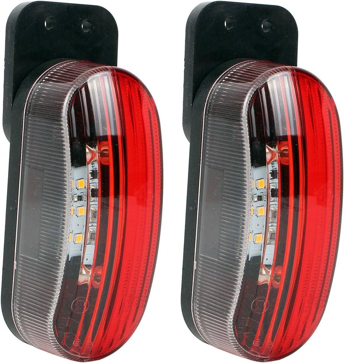 Umrissleuchte Led 12v Begrenzungsleuchte 2er Set Rot Weiß 98x42x38 Mm 12 24 Volt 2 Watt 6 Led Für Wohnmobil Wohnwagen Und Anhänger Auto