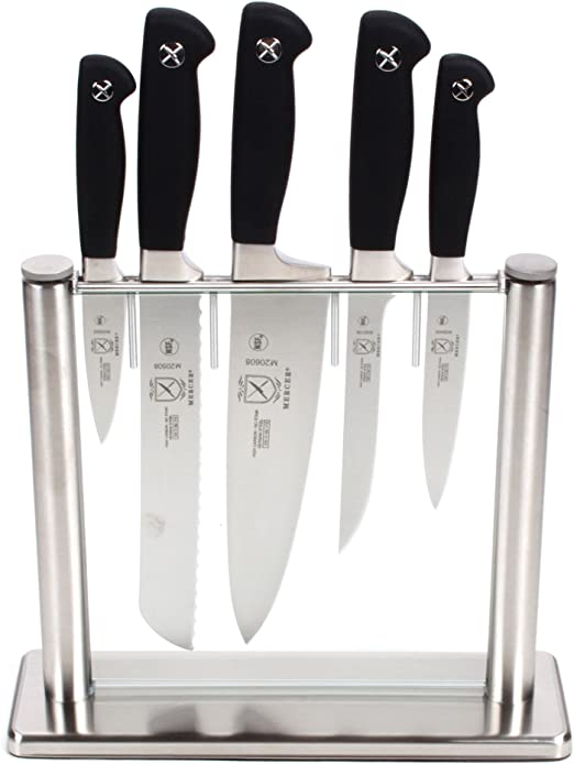 Mercer Culinary Genesis 6-Piece Forged Knife Block Set, Tempered Glass Block