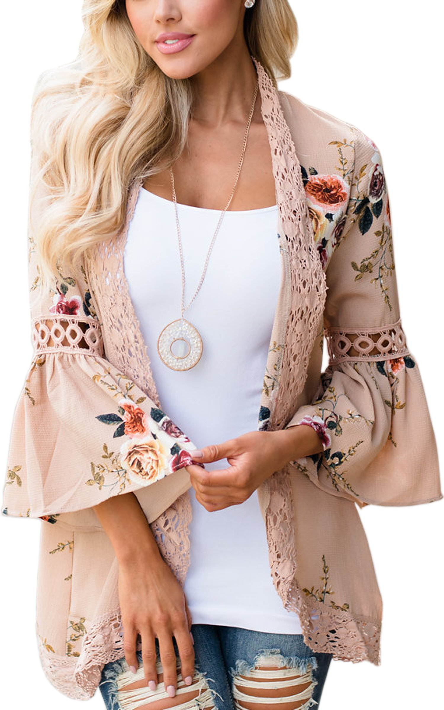 ECOWISH Womens Floral Print Loose Puff Sleeve Kimono Cardigan Lace Patchwork Cover Up Blouse, Khaki, US L