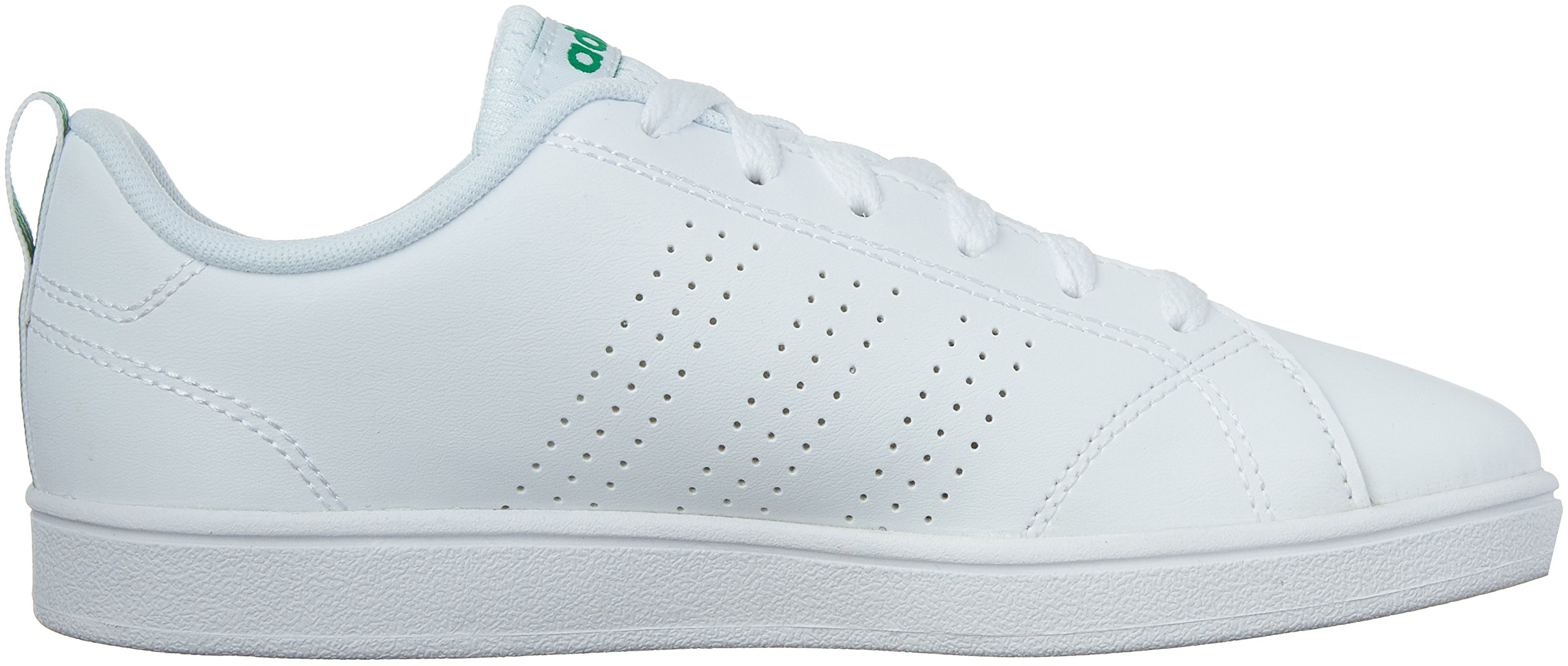 adidas Kids' VS Advantage Clean Sneaker, White/White/Green, 1.5 M US Little Kid by adidas (Image #6)