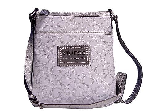 0233d9476ce7a Amazon.com: GUESS Taluca Crossbody Bag Handbag, Silver/White: Clothing