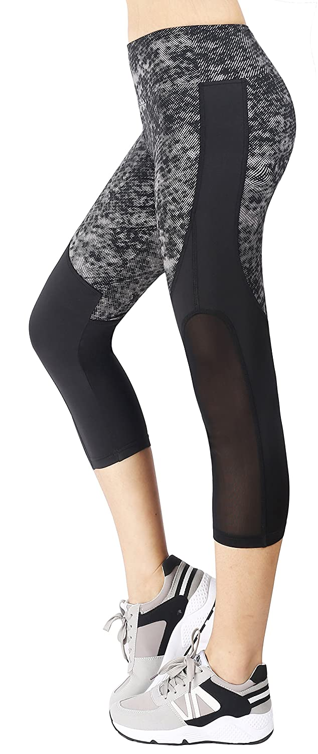 Sugar Pocket Womens Capris Tights Gym Workout Running Leggings Yoga Pants