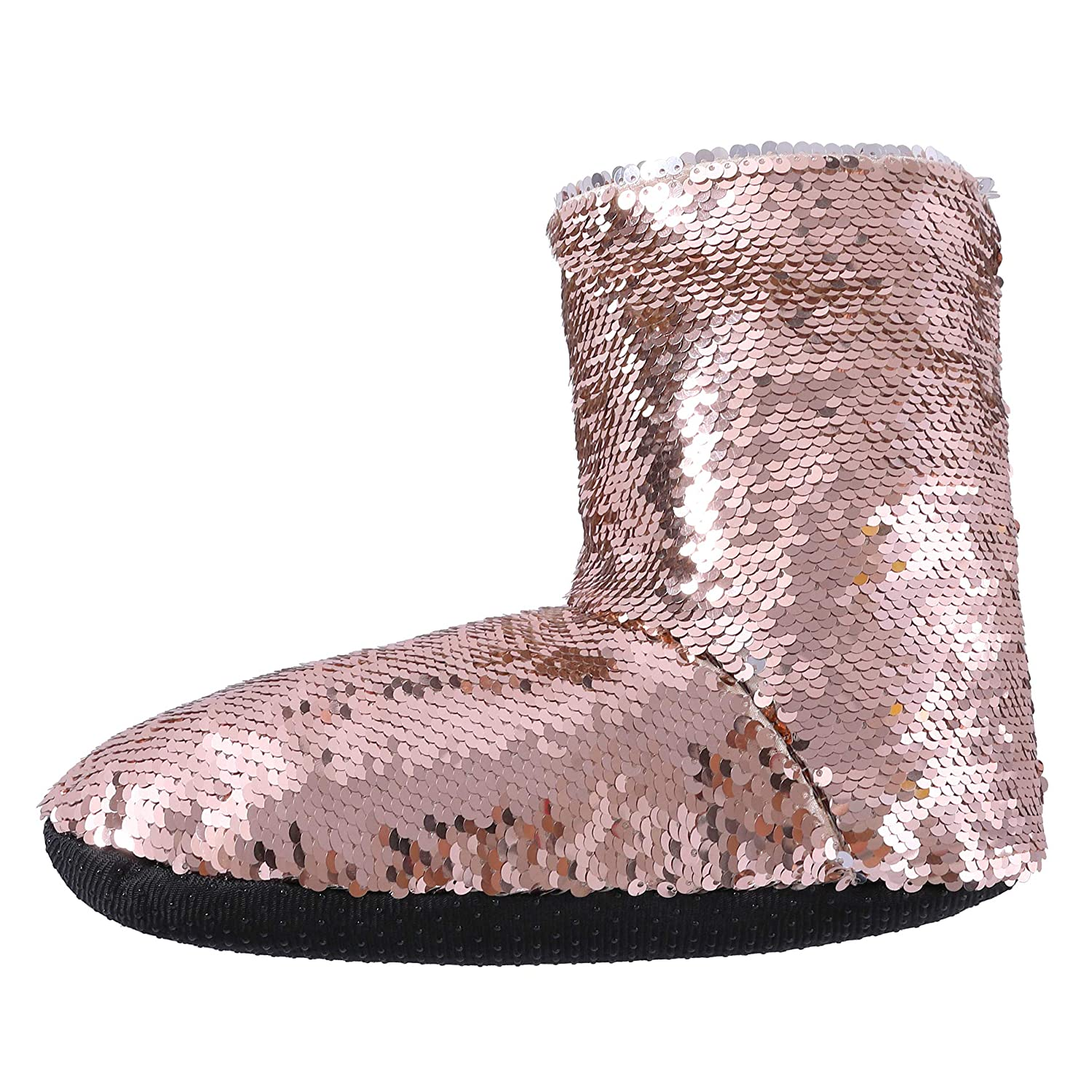 f97bf60869e3 Amazon.com | RONGBLUE Women's Christmas Reversible Sequin Slippers Socks  Soft Warm Fleece Lining Non-Slip Shoes Winter Boots | Slippers