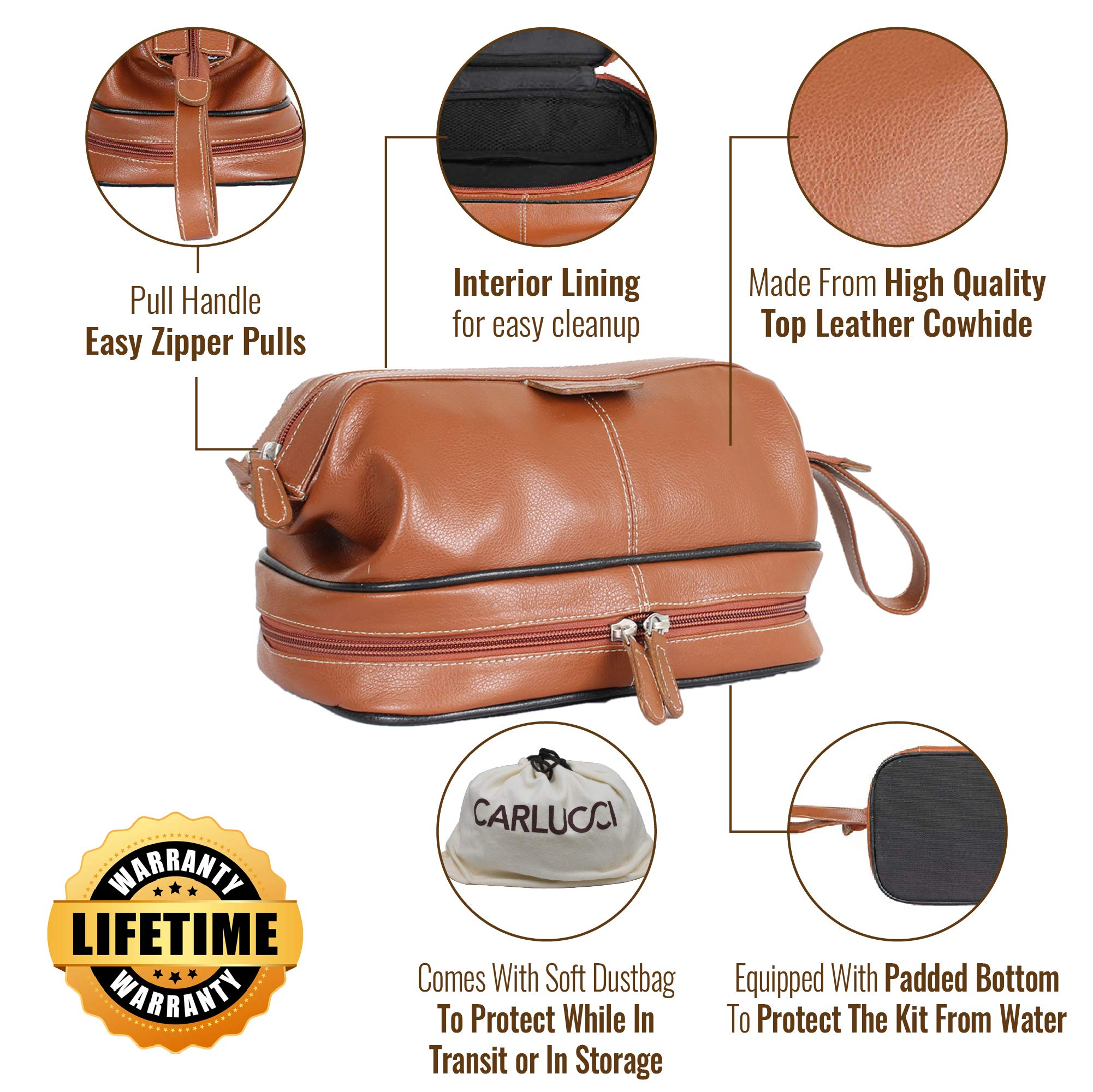 Carlucci Leather Premier Leather Toiletry Bag with Zip Drop Bottom, Rich Genuine Cowhide, 2 Big Compartments, Heavy Duty Zippers, Pull Handle, Leather Tabs. In Black by CARLUCCI LEATHER