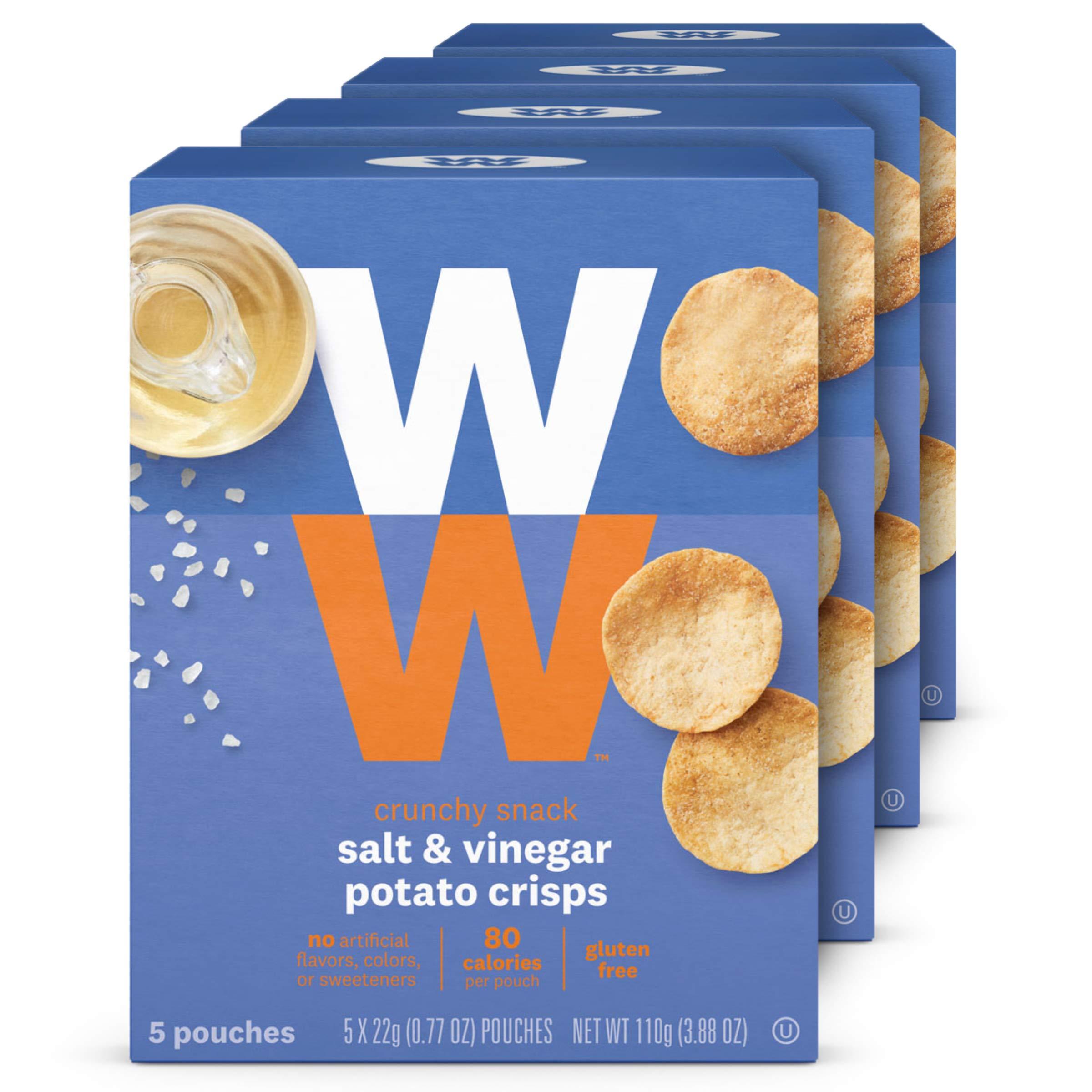 WW Salt and Vinegar Potato Crisps - Gluten-free, 2 SmartPoints - 4 Boxes (20 Count Total) - Weight Watchers Reimagined by WW