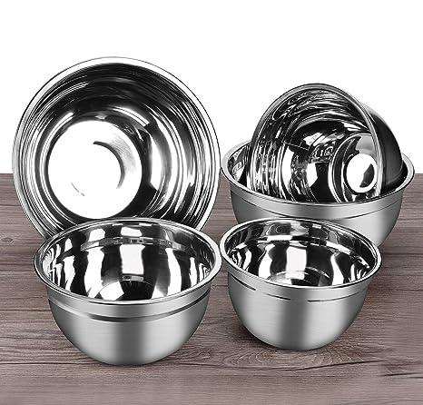 Bol acero inoxidable, Cuencos de cocina, Bol ensalada, Set de 5 piezas de acero inoxidable premium tazon mezclador 1.5L, 2L, 3L, 4L, 5L