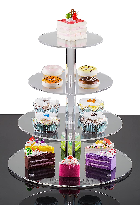 Amazon Com Weddingwish Tier Round Cake Stand Plastic Acrylic