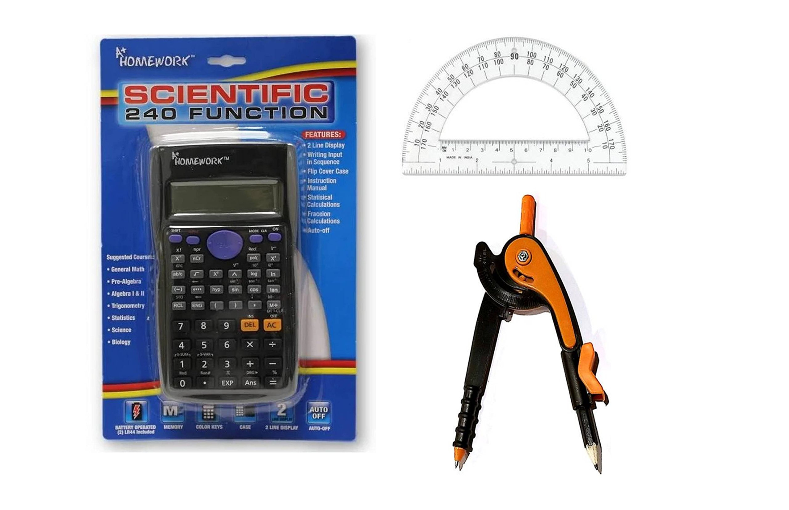 Advanced Scientific Calculator Bundle - Includes Calculator, Protractor, Compass - Ideal for Algebra, Biology, Statistics, Trigonometry