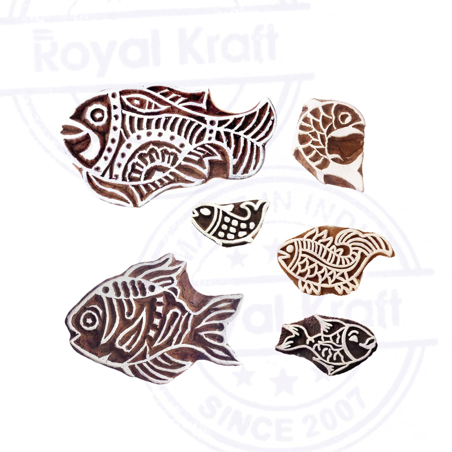 Pottery Printing Blocks Retro Fish Pattern Wooden Stamps Set of 6