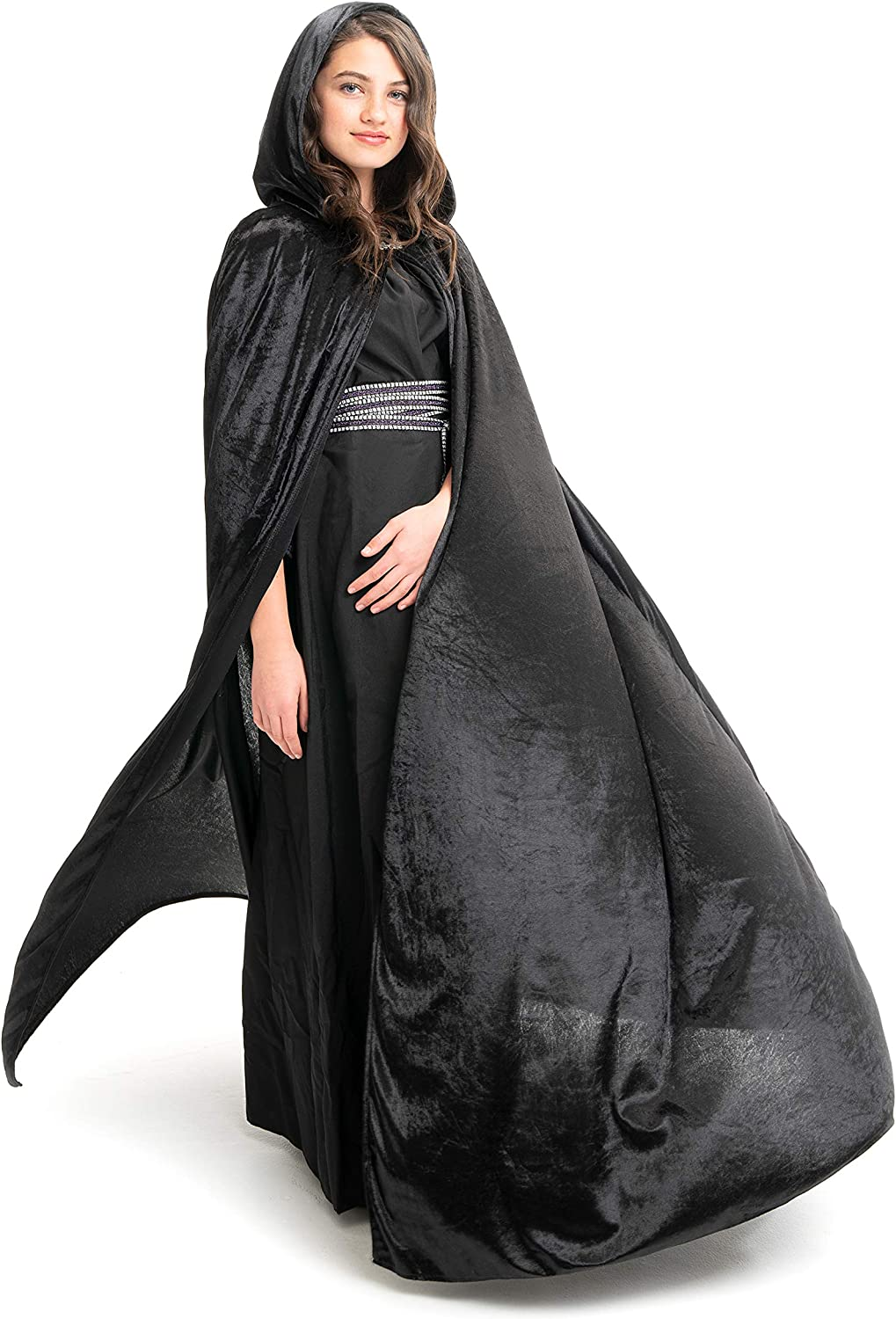 Little Adventures Deluxe Velvet Adult Cloak Cape with Lined Hood (Black): Clothing