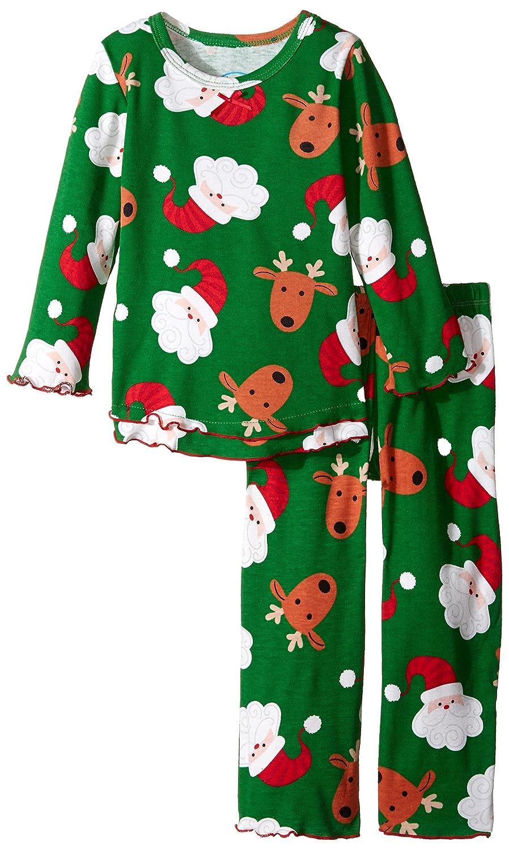 Saras Prints Big Girls Santas Reindeer Ruffle Top and Pant Infants Size 12M
