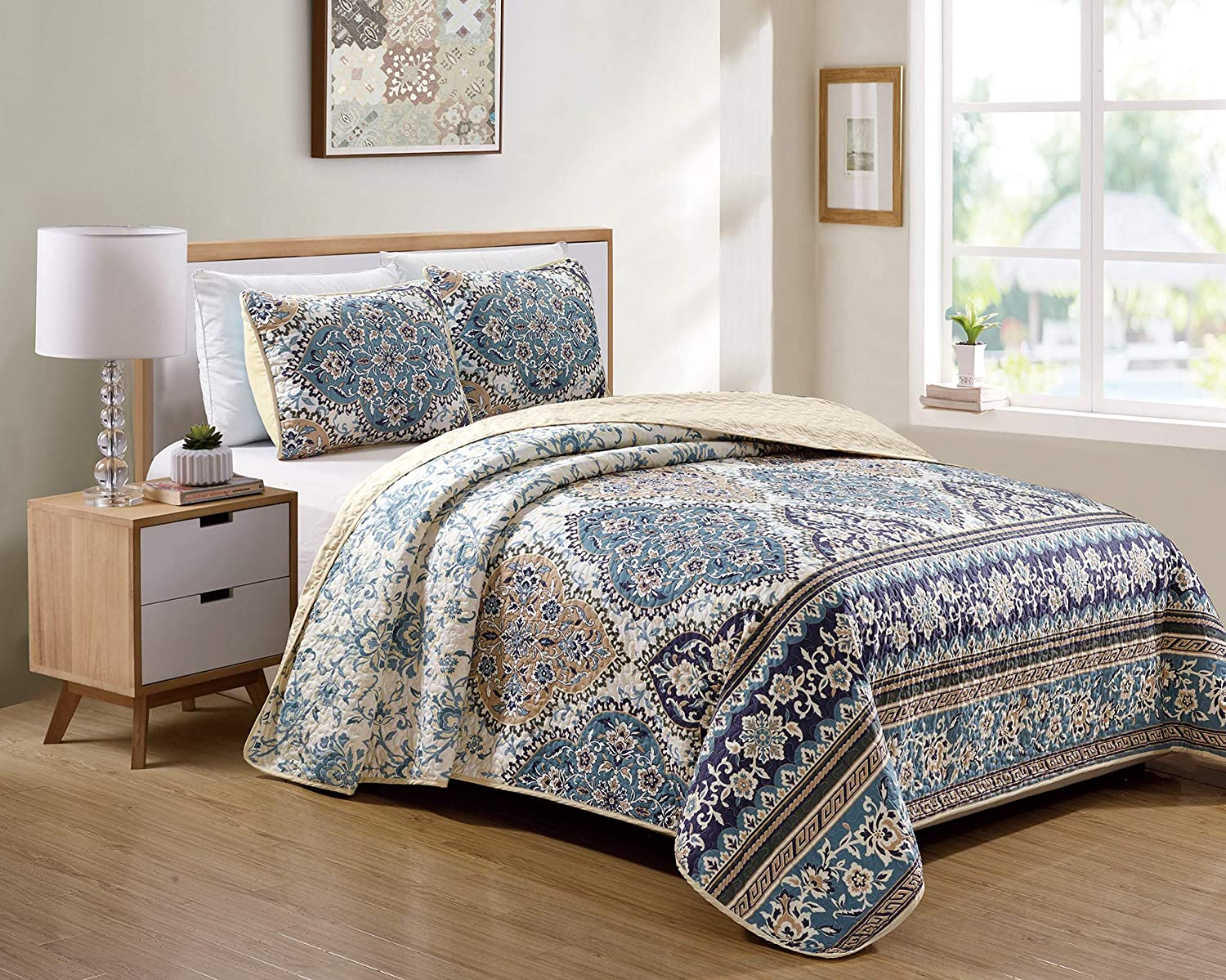 Better Home Style 3 Piece Blue Taupe Beige Navy Floral Luxury Lush Soft Flowers Printed Design Quilt Coverlet Bedspread Oversized Bed Cover Set # 12740 (King/Cal-King)