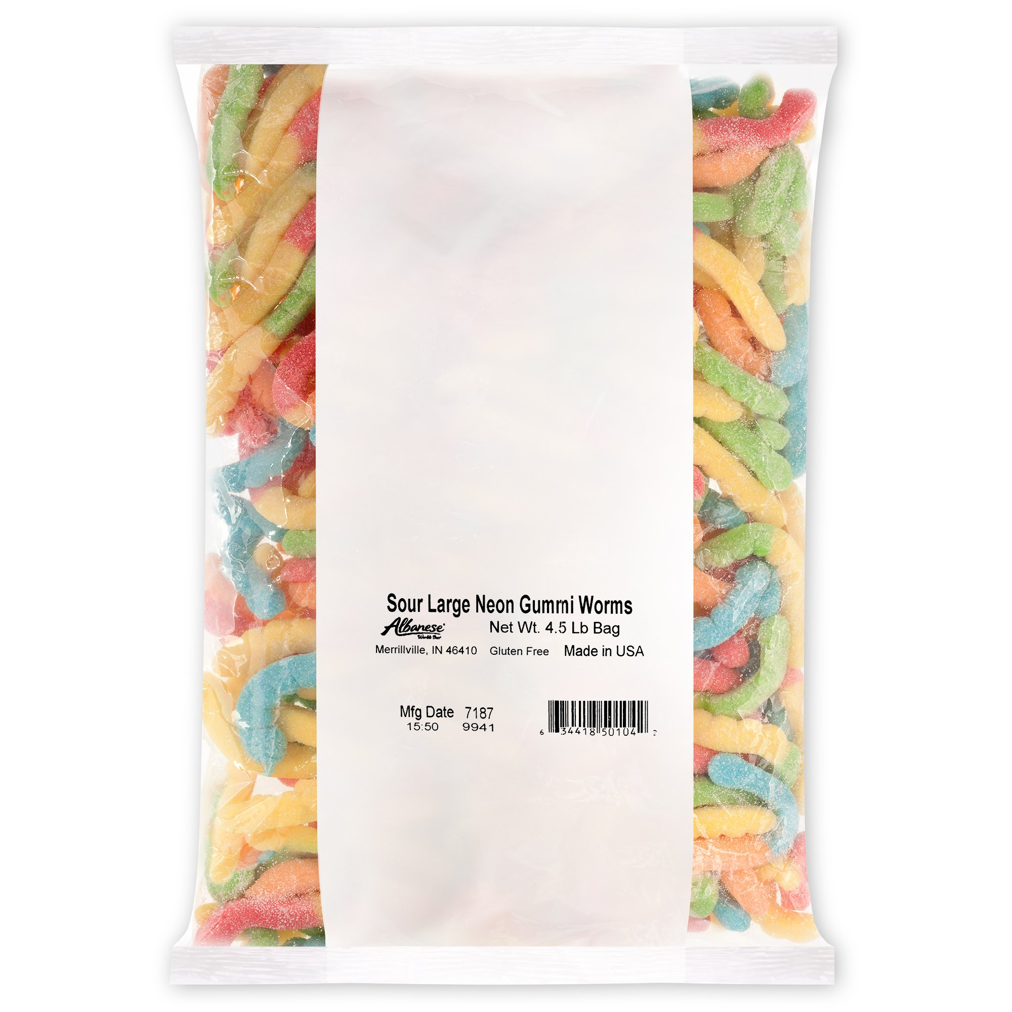 Albanese Candy Sour Large Neon Gummi Worms 4.5 Pound Bag Gummi Candy, Assorted Flavors: