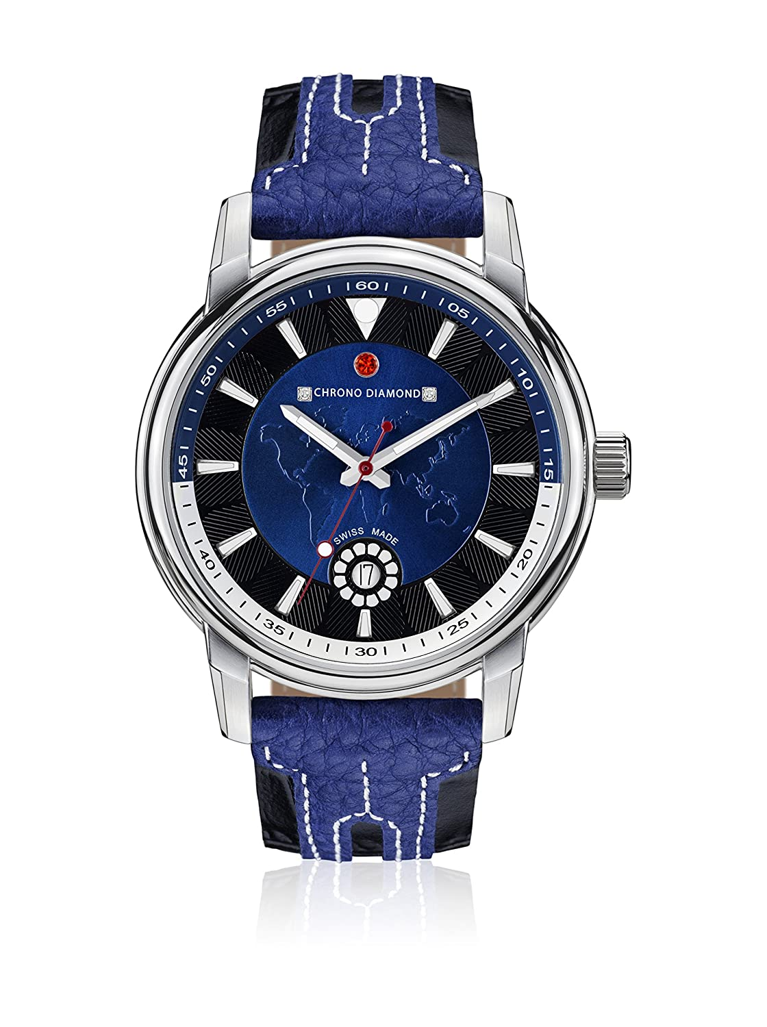 Uhr Quarz Chrono Diamond Display Analog Armband Leder Blau und Zifferblatt Blau 82068 _ blau-43 mm