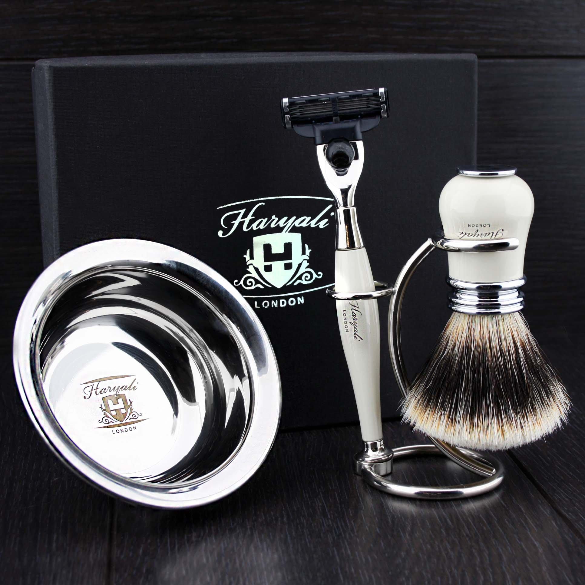 4 Pcs Men's Shaving Set In Ivory Colour ft Gillette Mach 3 Razor(Replaceable Head) ,Sliver Tip Badger Hair Brush, Dual Stand for Both Razor&Brush,Stainless Steel Bowl .New.Perfect Gift Kit for Him