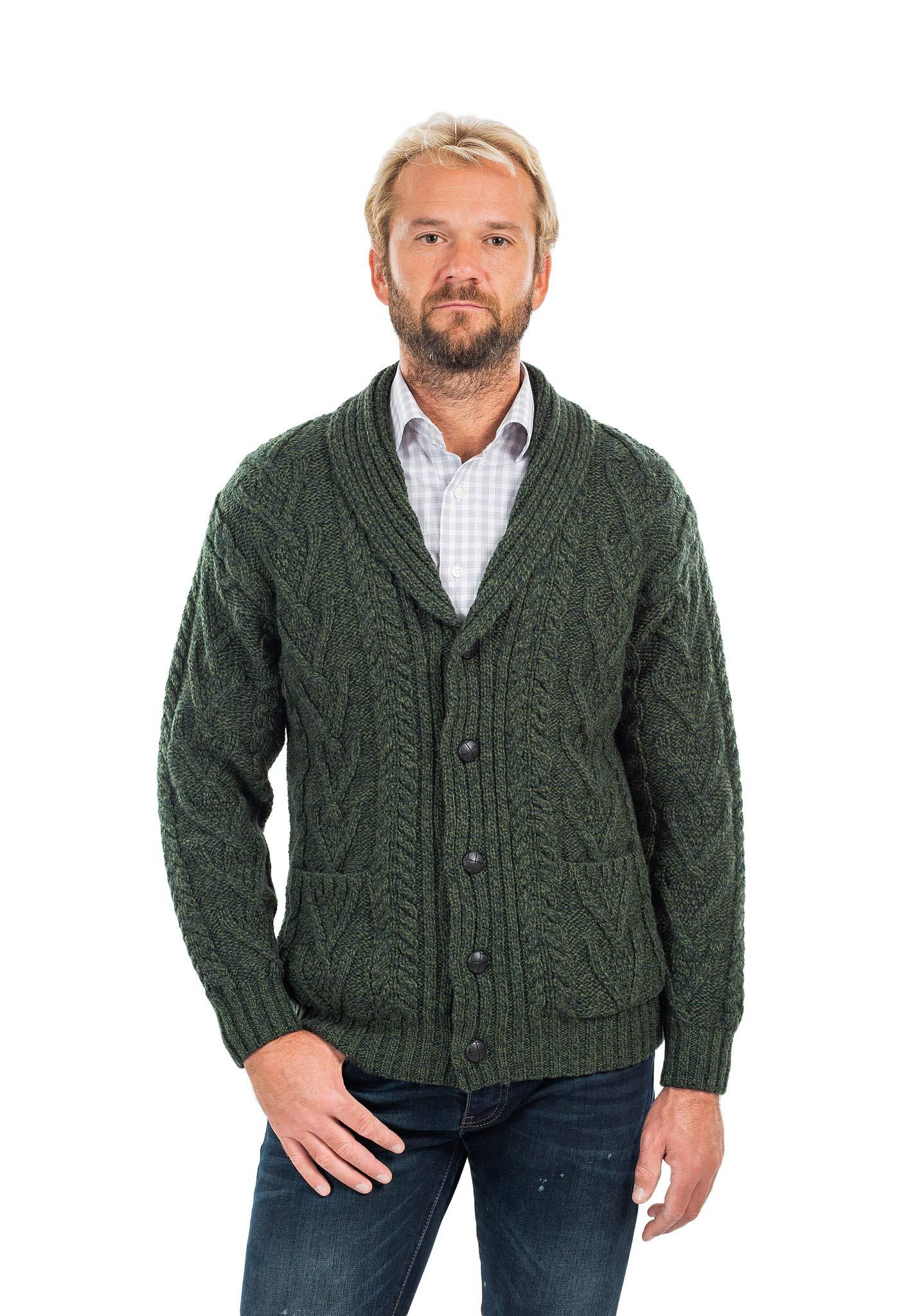 Mens Aran Cable Shawl-Collar Cardigan (Army Green, XXXLarge)
