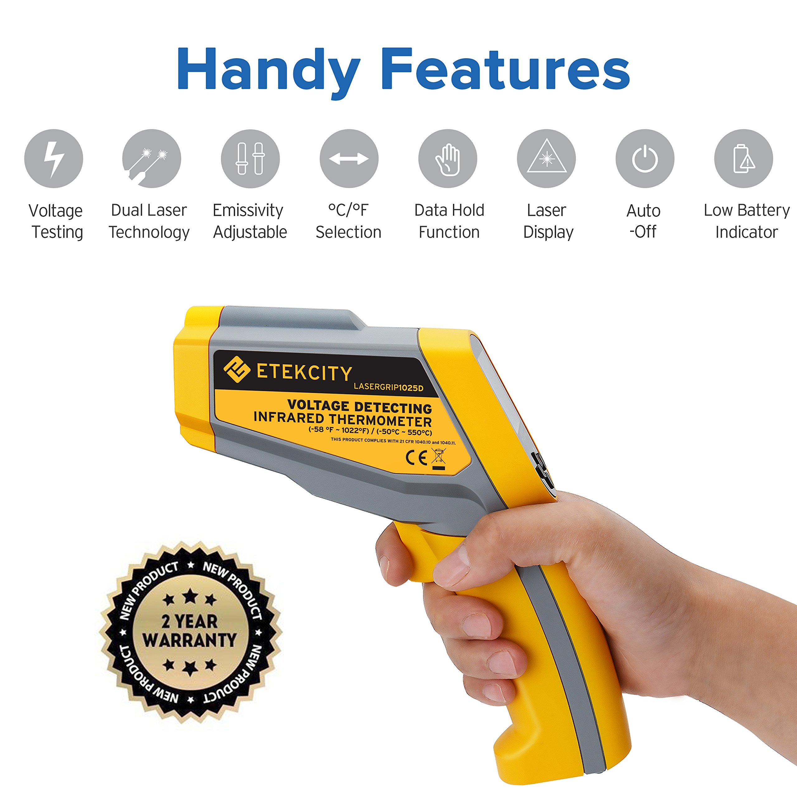 Etekcity Lasergrip1030D Infrared Thermometer Digital Dual Laser Temperature Gun Non-contact with Temperature Filtering -58℉~1022℉ (-50℃ ~ 550℃) by Etekcity (Image #7)