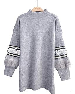 b518e75c0b1 CY Boutique Sequin and faux fur trim embellished sleeves soft knit jumper  dress funnel neck design