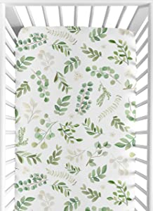Sweet Jojo Designs Floral Leaf Girl Fitted Crib Sheet Baby or Toddler Bed Nursery - Green and White Boho Watercolor Botanical Woodland Tropical Garden