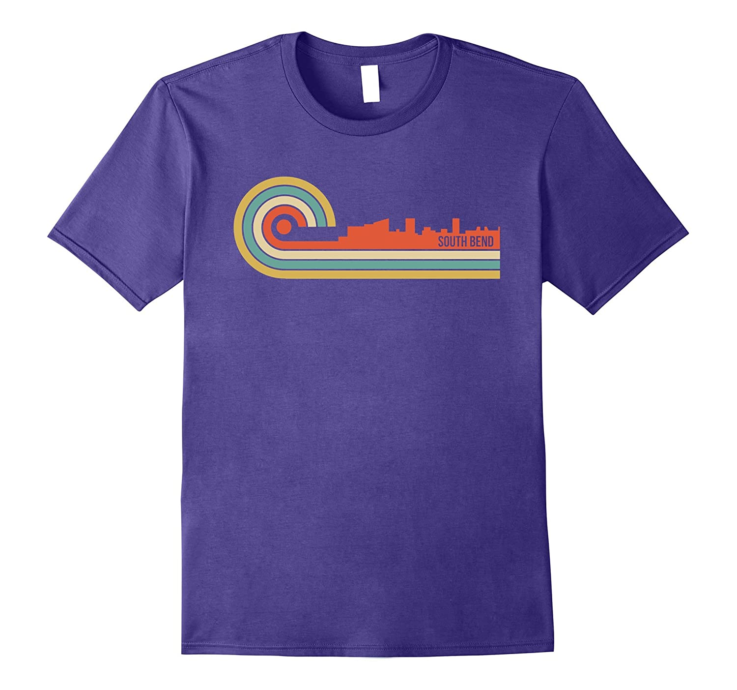 Retro Style South Bend Indiana Skyline T-Shirt-FL