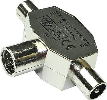 AERZETIX: Conector acoplador de conexion Divisor FMM min 5MHz MAX 1000MHz Antena TV 9.8mm 1 Hembra 2 Macho