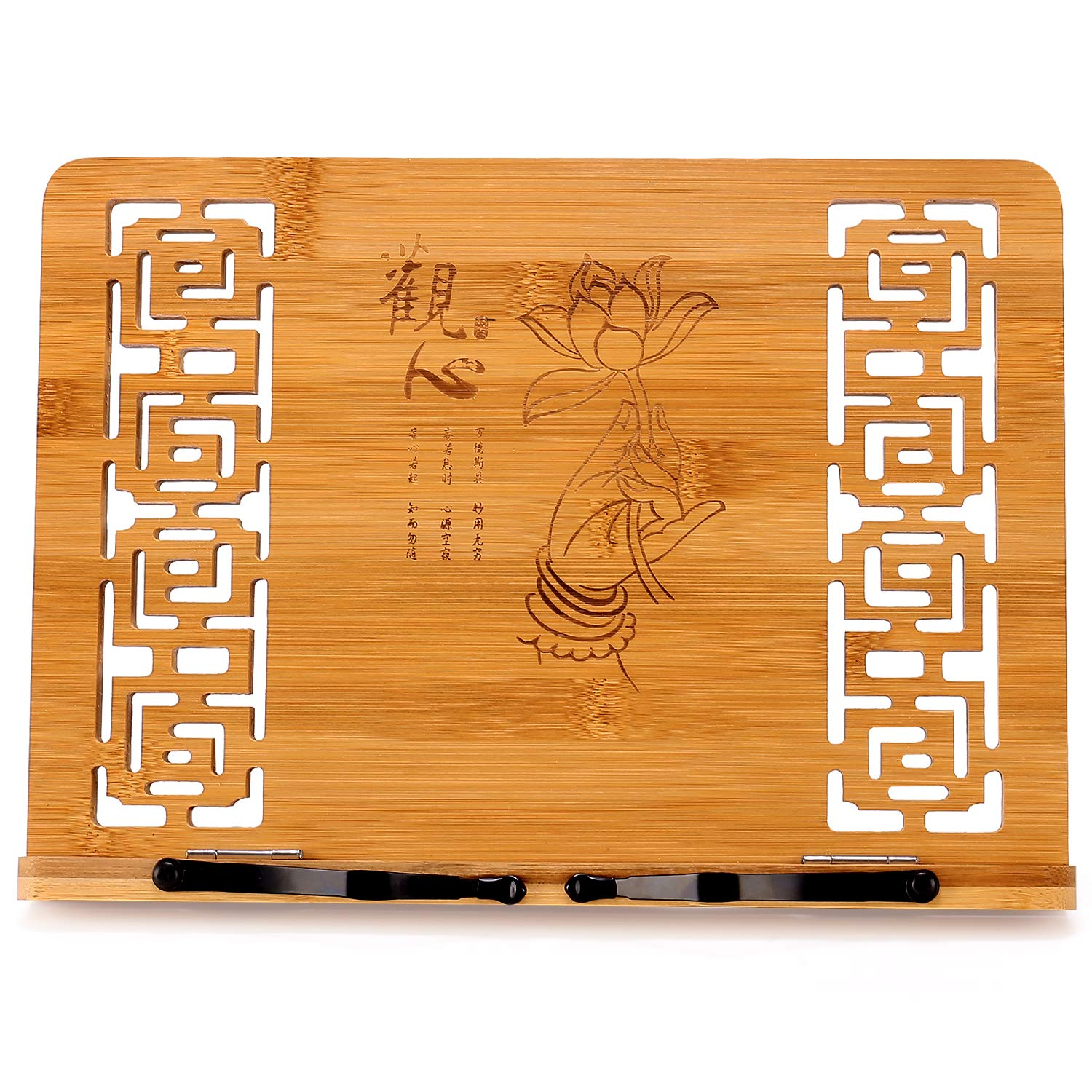 Bamboo and Steed Pattern Megrez Foldable Book Stand Reading Frame Reading Rest Holder Cookbook Cook Stand//iPad Tablet PC Textbook//Music Document Stand//Desk Bookrest with Retro Hollow Elegant