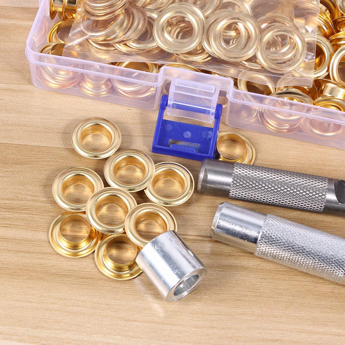 Kit de 100 ojales de 12 mm dorado Doitool juego de ojales Grommet con arandelas y herramientas de instalaci/ón para lona para la reparaci/ón de ropa artesanal