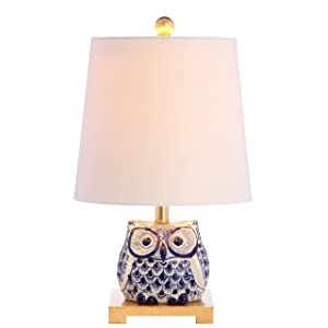 "JONATHAN Y JYL3014A Collection Justina 16"" Ceramic Mini Table Lamp, Blue/White"