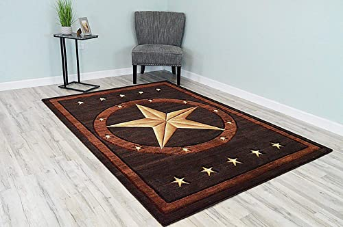 PlanetRugs Premium 3D Effect Hand Carved Thick Modern Cowboy Lodge Texas Star Area Rug Design 1806 Brown Chocolate 4 x5 3