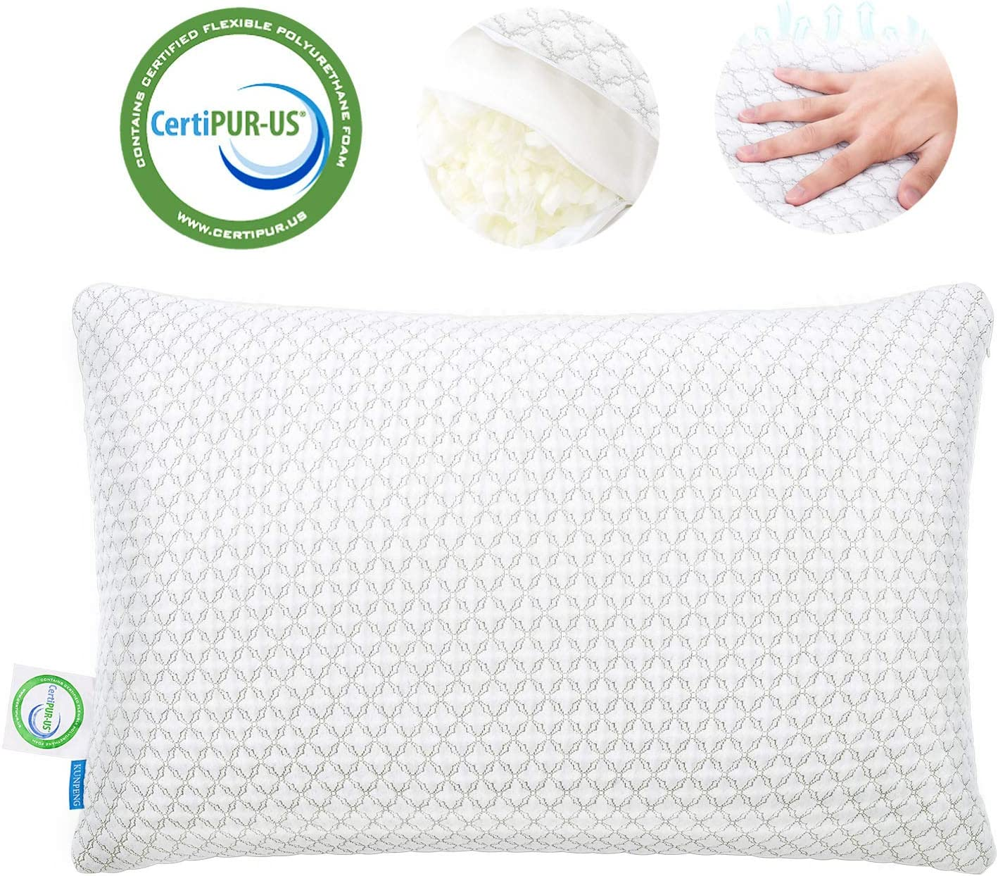 KUNPENG Shredded Memory Foam Pillows for Sleeping - Cooling Bed Pillow Hypoallergenic with Premium Washable Cover for Back Stomach Side Sleepers Firm Soft Adjustable - CertiPUR-US - King Size