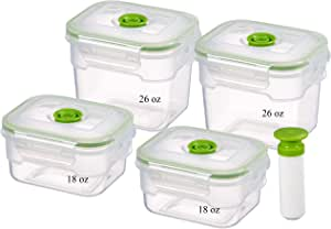 9 Piece Vacuum Seal Food Storage Container Set, Rectangle