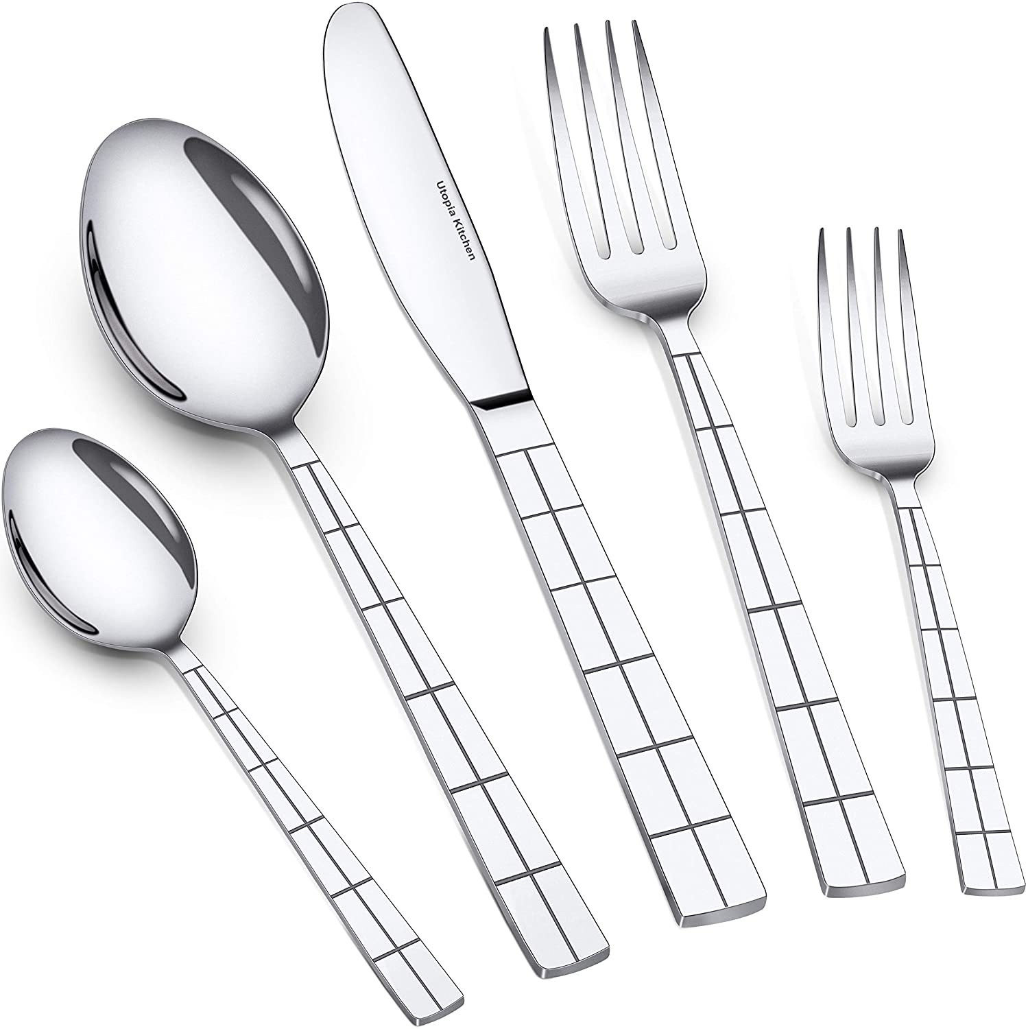 Utopia Kitchen 20 Piece Flatware Set Silverware Set Stainless Steel Service for 4 Multipurpose Use for Home Kitchen or Restaurant UK0376