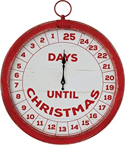 Creative Co-op Days Until Christmas Distressed Red & Cream Wood Countdown Wall Décor, Red